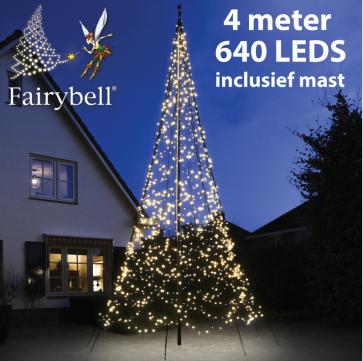 Fairybell® kerstboom 640 Led warmwit + 4M mast bestellen, kopen
