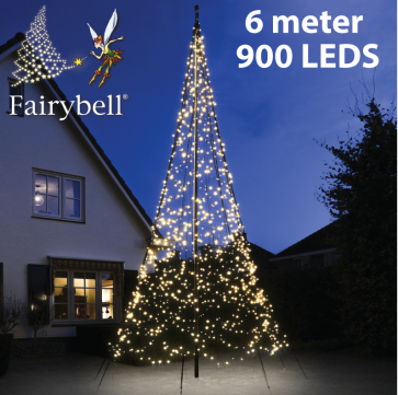 Fairybell® kerstboom 900 Led warm wit voor de 6 meter vlaggenmasten