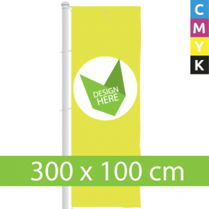 Banieren bedrukken? Digitaal geprinte full colour 300 x 100 cm Banier.
