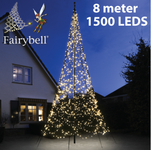 Fairybell® kerstboom 1500 Led warm wit voor de 8 meter vlaggenmasten