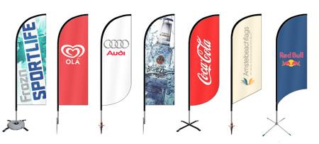 beachflag voorbeelden met logo