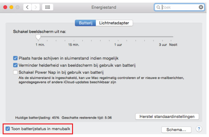 Toon status MacBook Pro accu/ batterij