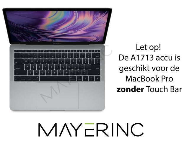 A1713 accu voor de MacBook Pro A1708 zonder Touch Bar