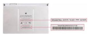 A nummer controleren MacBook accu batterij